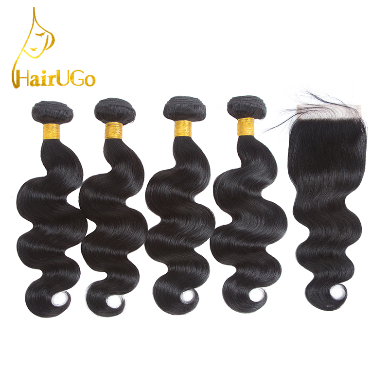 HairUp Peruvian Body Wave Bundles En Piece Natural Black Non Remy - Mänskligt hår (svart)