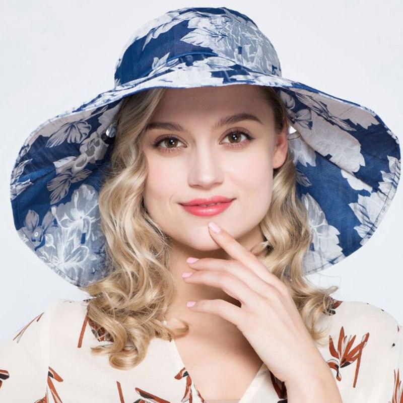 2019 Woman Summer Sun Hat Sunscreen Foldable Organza Hat Lady Sandy Beach Flower Bucket Hats Women's Bucket Hats Apparel Accessories