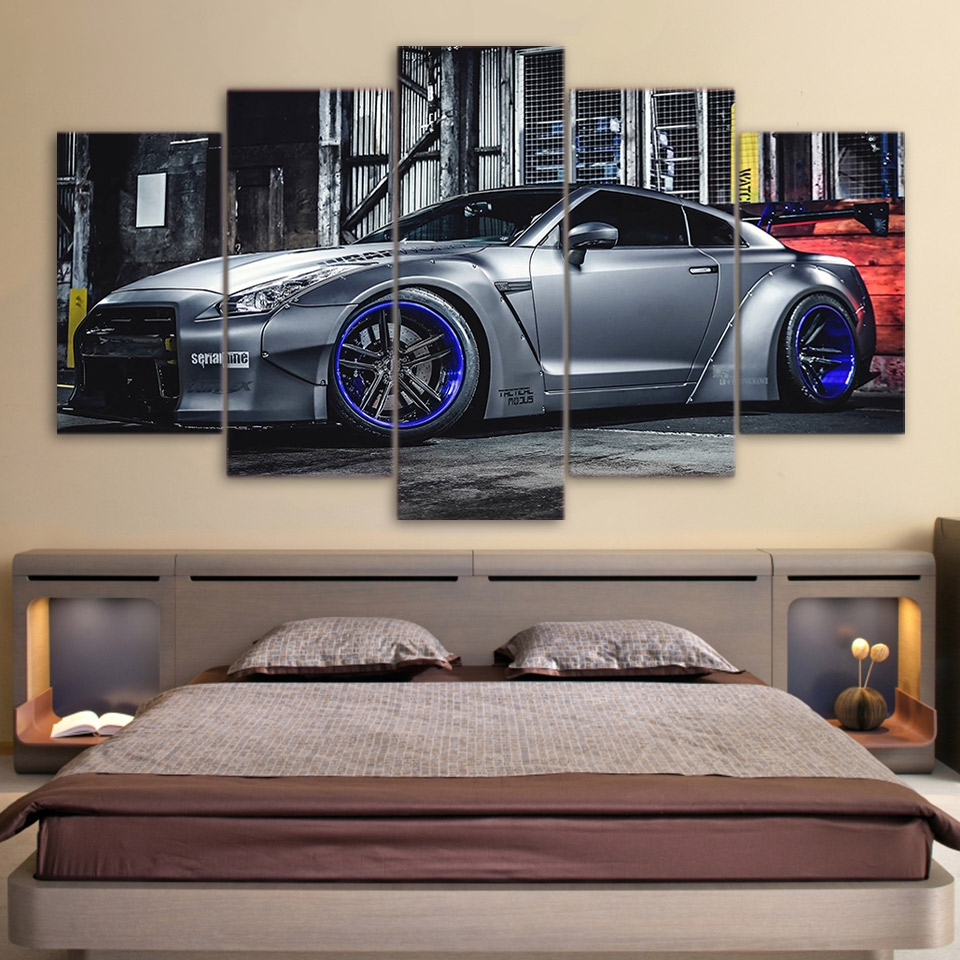 5 Panels NISSAN GTR R35 Sports Car Canvas Painting Wall