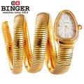 Binger Relógio Estilo Desenho da Cadeia de Cobra Pulseira Da Moda As Mulheres Se Vestem Relógios de Quartzo Relógio De Pulso De Luxo Projeto Da Novidade de Alta Qualidade