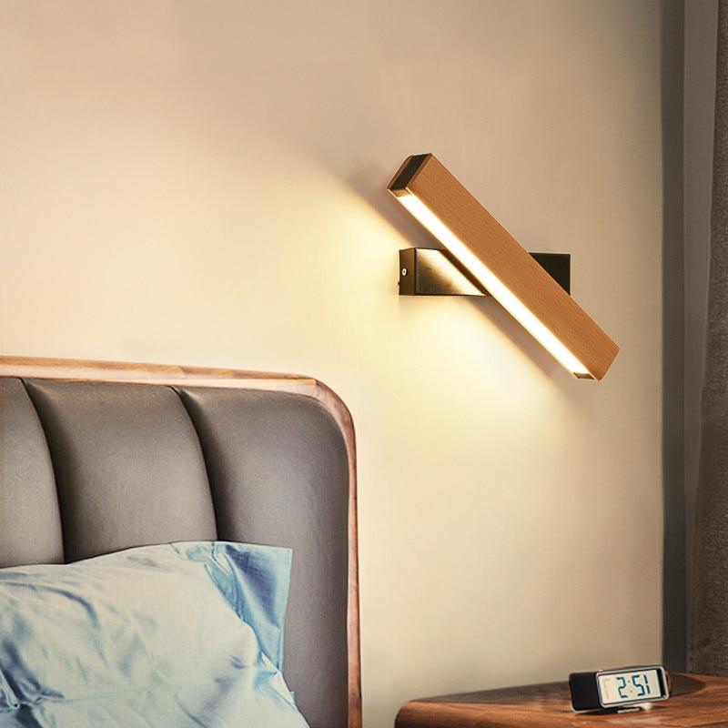 Современный минималистский Nordic дерево светодиодные лампы бра дома деко спальня ночники твердой древесины творческих вращающийся чтения н...