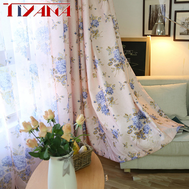 Pastoral Semi Blackout Pink Flower Curtain Fabric For Living Room