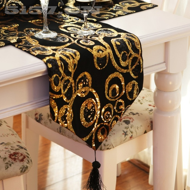 Attrayant 30*200cm Black U0026 Gold Circle Sequin Table Runner Runner Dinner Mat Dec Home  Textile