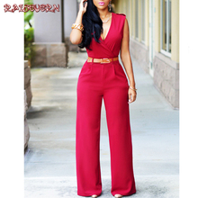 fb7ee25529f RAISEVERN Rompers Womens Deep V Neck Elegant Office Work Overalls Lady Solid  Black