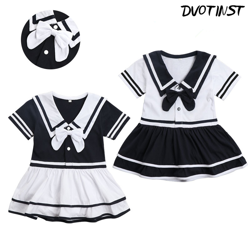 Baby Girls Clothes Short Sleeves Halloween Cosplay Navy Sailor Dresses Outfit Infantil Toddler Jumpsuit purim Clothing Costume