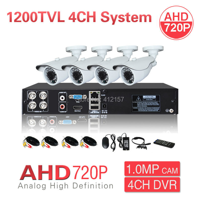 Home Outdoor CCTV AHD 720P 1200TVL 4CH Security Camera System HDMI Hybrid DVR NVR Color Video Surveillance KIT P2P Mobile View  security cctv outdoor waterrpoof 1200tvl ahd 720p camera system 4ch hdmi hybrid dvr home video surveillance kit p2p mobile view