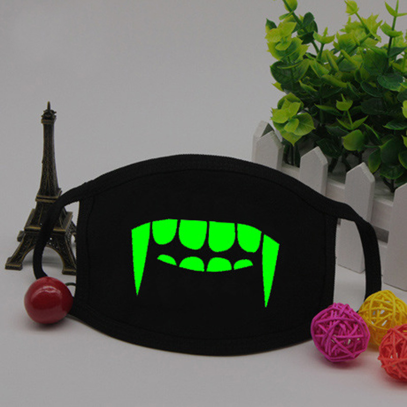 Vampire Teeth Mouth Mask Fashion Night Club Skeleton Skull Anti Dust Mouth Mask Green Luminous Face Glow Mask