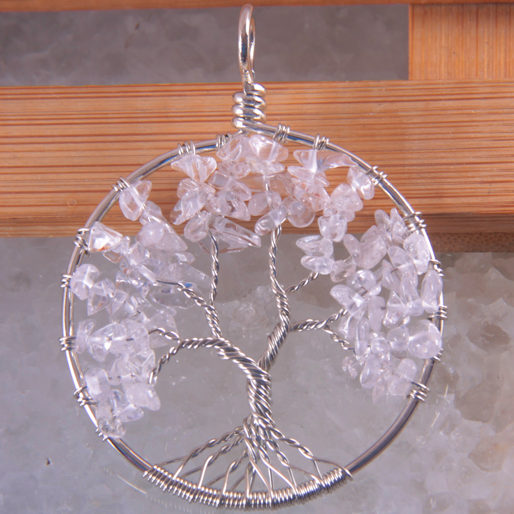 New Fashion Tree of life - Natural Stone Clear Crystal Wire Wrap Round Pendant Free Shipping K1854