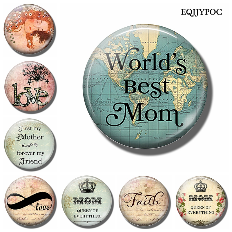 4 Styles Round Love Mom Quote Fridge Magnet 2017 New Glass Dome Refrigerator Sticker Christmas Home Decoration Message Holder