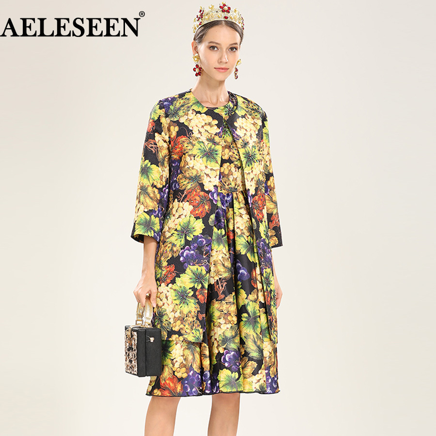 AELESEEN Luxury Printed   Trench   Fashion 2018 Winter Autumn Fashion 3/4 Sleeve Runway Flower Beading Long Button Warm New   Trench