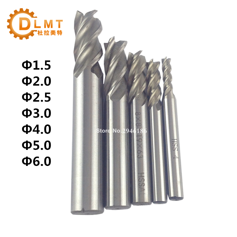 7Pcs Carbide End Mill HSS 4 Flutes 1.5 2 2.5 3 4 5 6mm Diameter Milling Cutter Straight Shank Router Bit Set CNC Tools scgo for 10mm shank diameter carbide end mill sld10 c25 200l 2080 side lock end mill extension holder