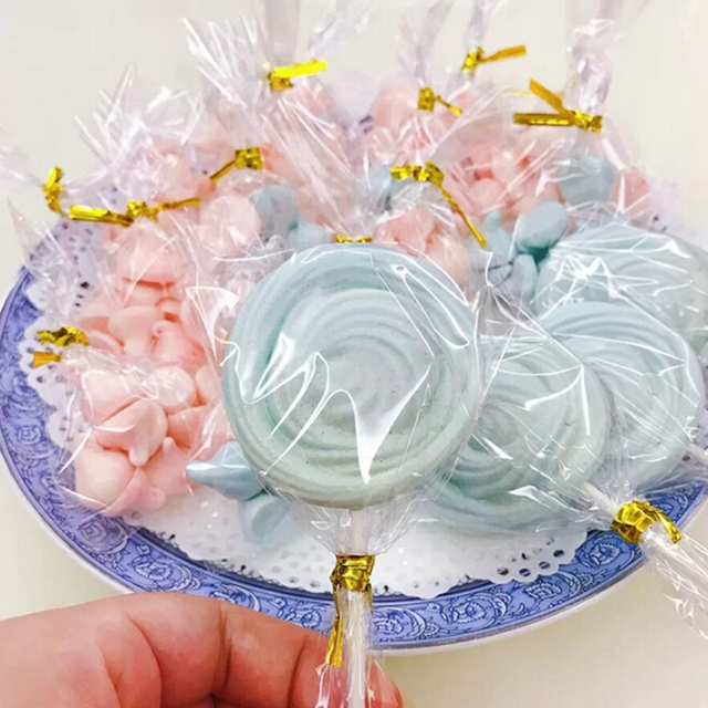 Transpa Flat Open Top Small Plastic Bags Candy Lollipop Cookies Packaging Cellophane Bag Wedding Party Decorations