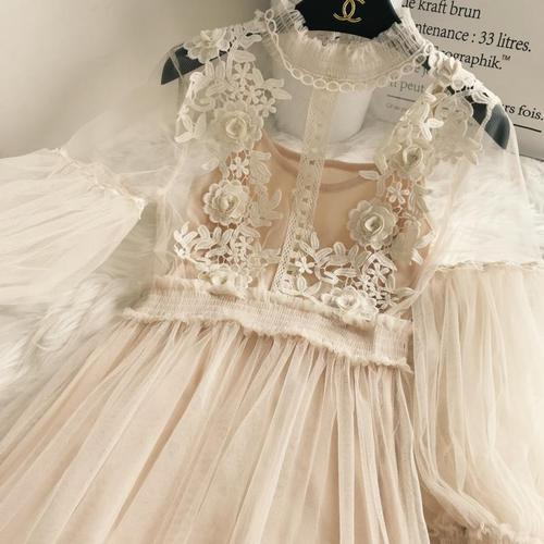 New Arrivals Women Lace Flower Dress Long Gauze Lantern Sleeve Voile Long Dress Female Retro Hook Princess Dress 2 Piece Set