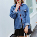 Autumn new women casual fashion Button small lapel double pocket short denim jacket for girls