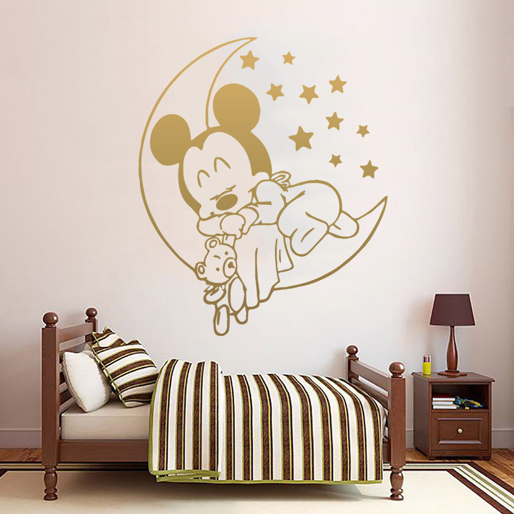 Cartoon Style Mickey Mouse Sweet Dream Wall Sticker Home