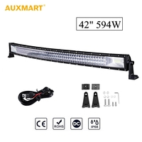 Auxmart Triple Row 42 inch 594W Curved LED Light Bar 108pcs LED Chips Work Light Lamp IP86 Waterproof Combo Spot Flood Beam