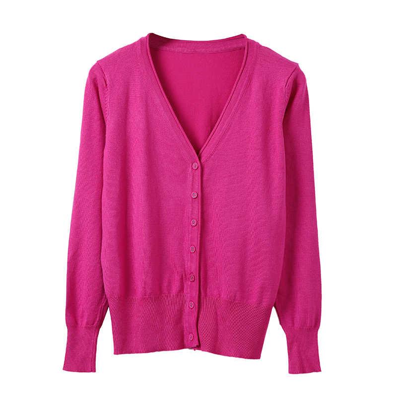 2019 秋の女性のセーターファッションニット長袖 V ネックソリッドルースサイズカジュアル女性カーディガン基本ジャケット