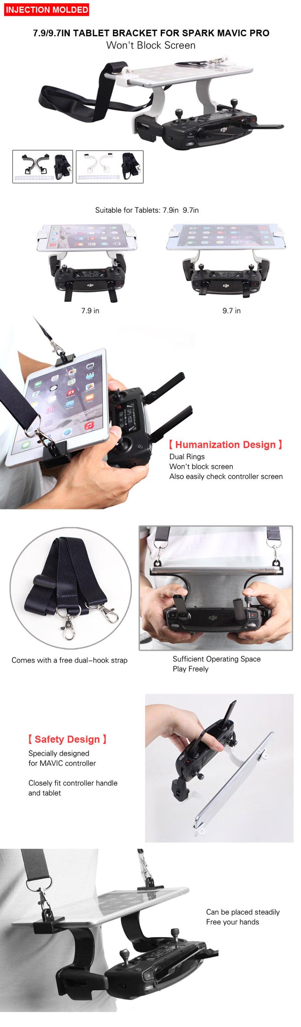 Двойной крючок Поддержка 7,9 дюймов 9,7 дюймов Tablet вручение Пряжка держатель Pad держатель планшета для DJI Мавик 2 PRO зум/ spark drone