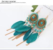 Vintage Drop&Dangle Earrings Fashion Feather Chain Tassel Earrings Bohemian Jewelry Travel Vacation  Hook Earrings Girl Jewelry bohemian feather fake gem hook earrings