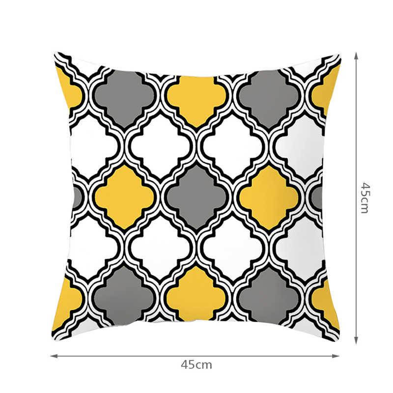 Fuwatacchi 幾何画クッションカバー黄色グレーダイヤモンド波プリント枕カバーソファ椅子家の装飾スロー枕カバー