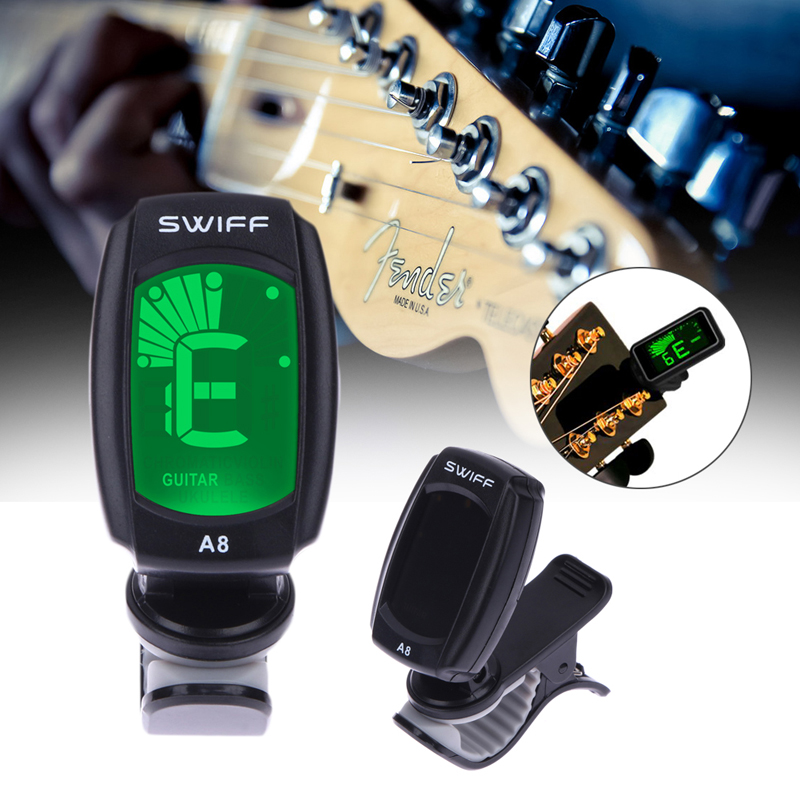 цена на Guitar Tuner 3V A8 Digital Chromatic Clip-On Tuners Acoustic Electric Guitarra Bass Violin with Back Light Guitar Accessories