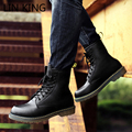 LIN KING Style Pu Leather Martin Boots Martin Shoes Man Brand Designer Motorcycle Boots Warm Work Safety Army Boots