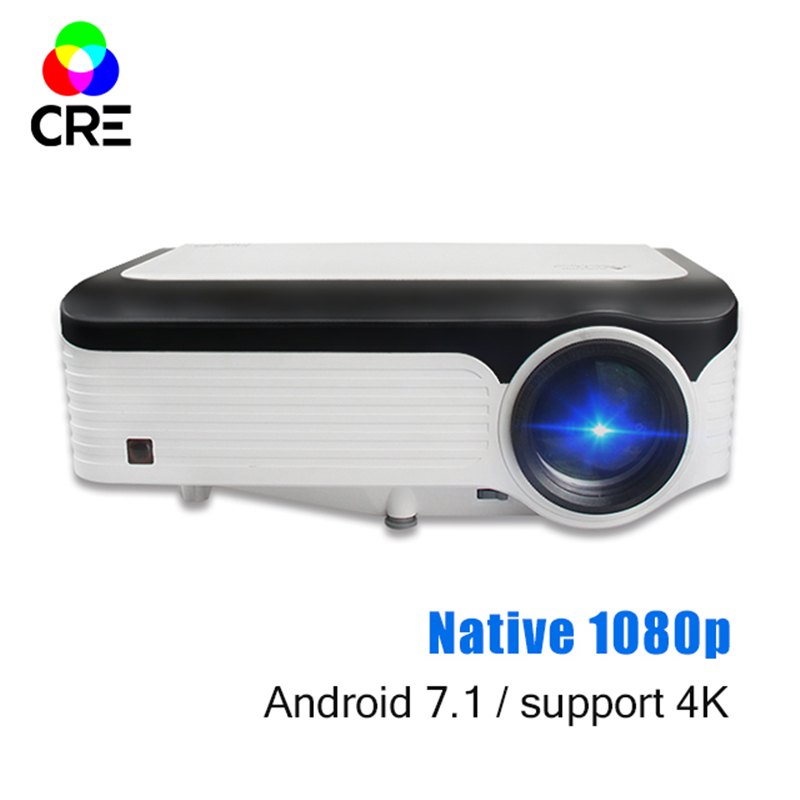 Cre 3200 Lumens Video Projector Full Hd 1920*1080 4 K Ondersteuning Android Projector Met Wifi Bluetooth Android 7.1 Os Led Beamer