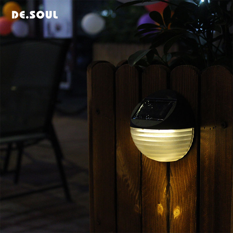 DE.SOUL Solar Rechargeable LED Solar light Outdoor lamp Decoration Night Security Wall Light Outdoor Garden Fence Waterproof