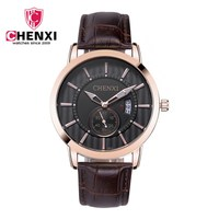 Brand CHENXI Men Dress Watches Genuine Leather Minimalism Gold Man Business Quartz Watch Unique Calendar Male