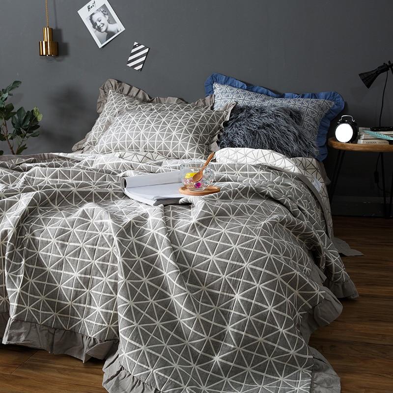 100% Katoen Laken Set Airconditioning Zomer Quilt Deken Bed Spread Bed Cover Set Matrashoes Couvre Lit Colcha De Cama Zorgvuldig Geselecteerde Materialen