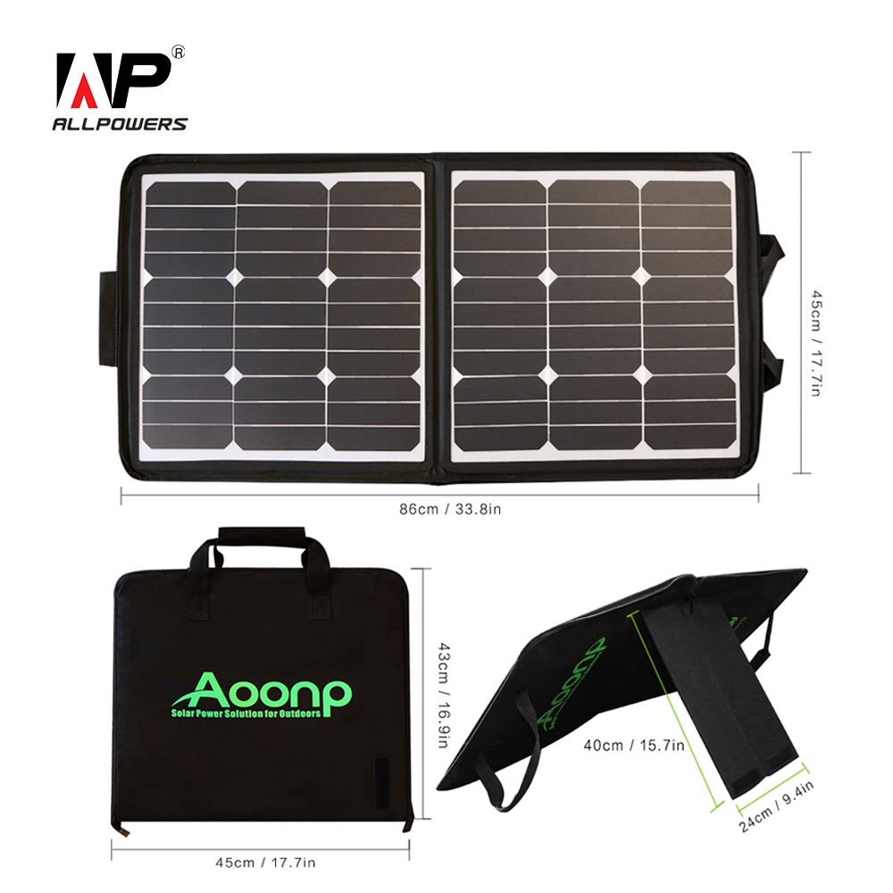ALLPOWERS Solar Panel Charger 18V 50W Portable Solar Laptop Charger Suit charge for iPhone iPad Macbook Samsung Dell Car Battery