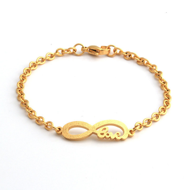 Fashion New Baby Infant Gold Bracelet Stainless Steel Small Size Child Kids Infinity For Boy