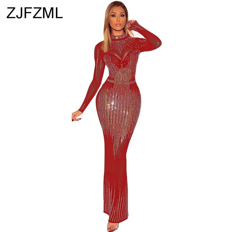 Maille transparente Patchwork élégante robe de sirène femmes brillant strass Perspective Bandage robe Sexy fermeture éclair manches longues robe de soirée
