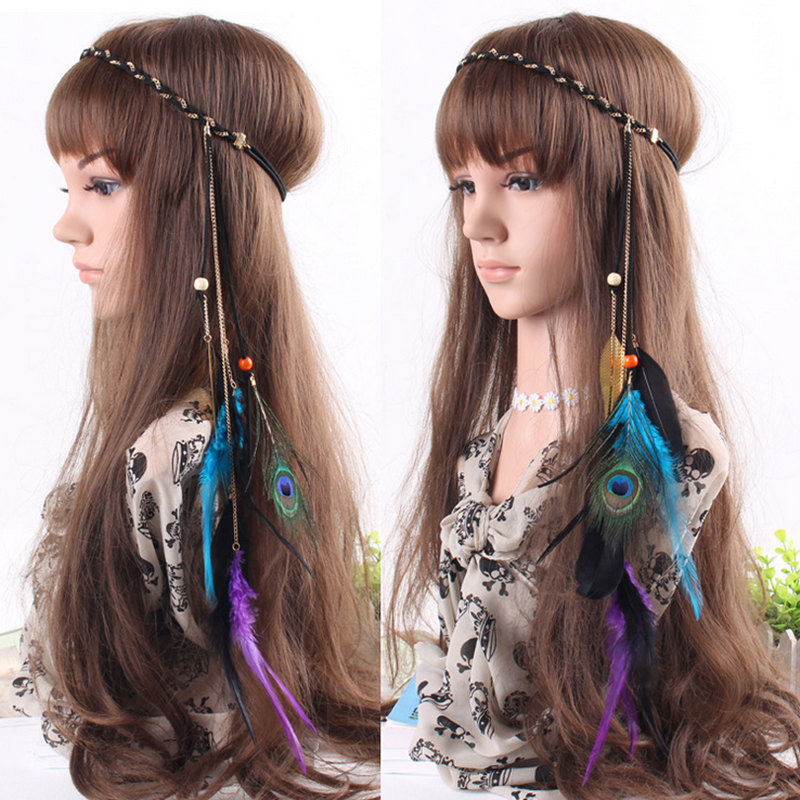 Hand Woven Korea Velvet Peacock Feather Hair Bands Beautiful Girl Pendant With Hair Rope Hair bands Indian Head Jewelry