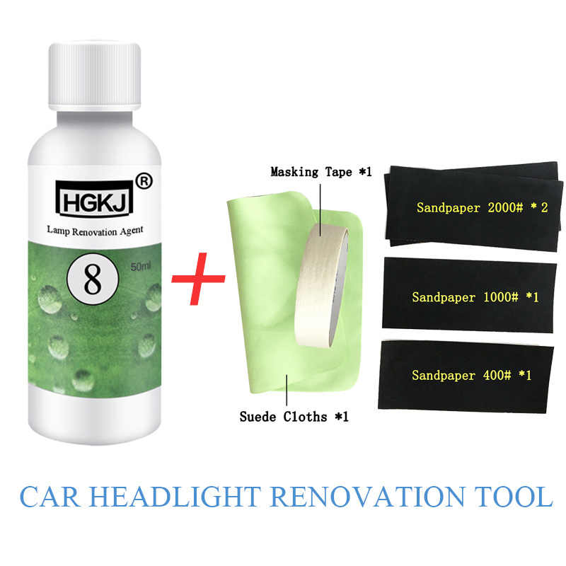 HGKJ Car Headlight Repair Renovation Tool HGKJ-8-50ML Lamp Polishing Agent+Cleaning Rag Sandpaper Kit Universal Auto Care Tools