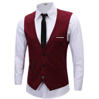 Wedding Vest Men Spring Slim Brand Men's Slim Dress Business Suit Vest Men Gilet Colete Fashion Waistcoats