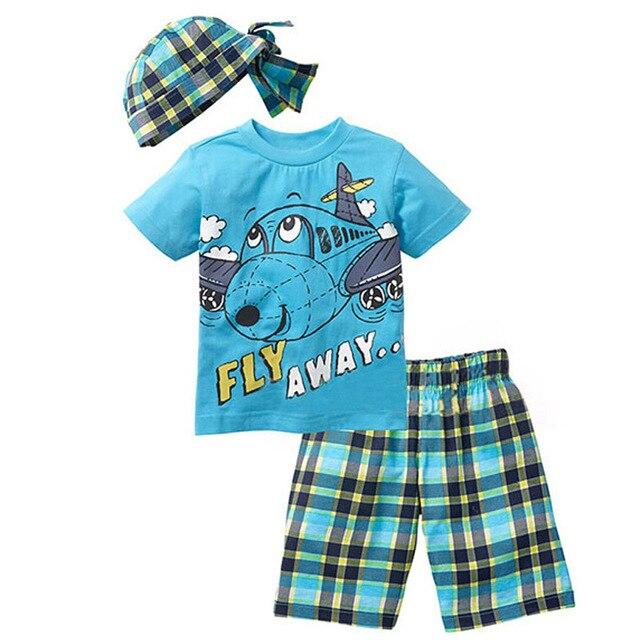 Bear Leader Active boys sets boy shorts Cartoon suits summer short sleeve T-shirt + plaid pants + hat 3 pieces clothing set