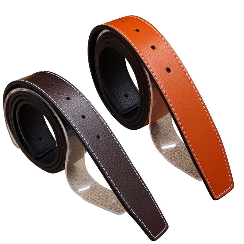 8 unids/lote SINGYOU sin hebilla diseñador de lujo hombres cinturón de cuero genuino alta calidad Jeans Ceinture