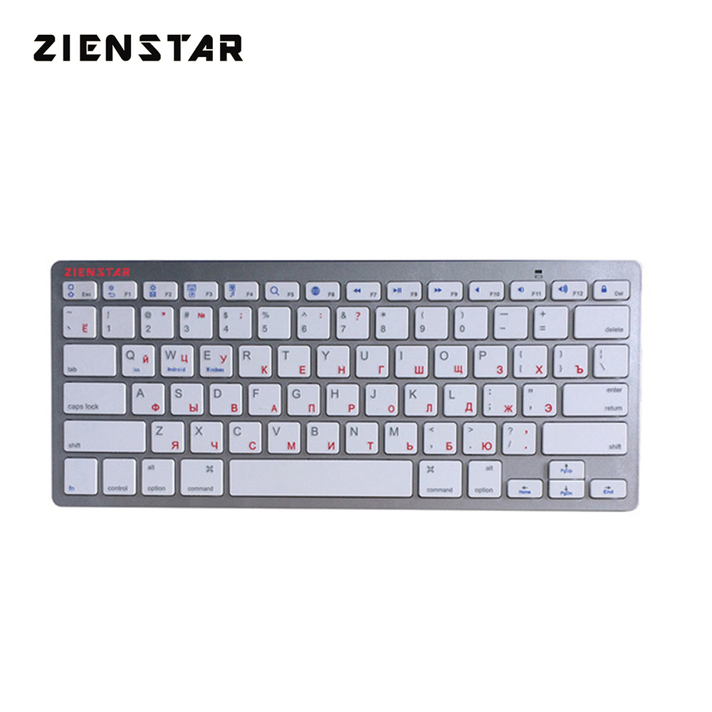 Zienstar Russian Bluetooth Wireless Keyboard for IPAD ,MACBOOK,LAPTOP,TV BOX Computer PC and Tablet ,Silver White Color zienstar ultra slim wireless bluetooth keyboard for ipad macbook laptop computer pc and android tablet us english layout