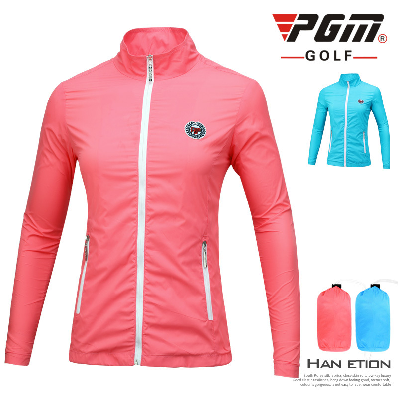 Women Waterproof Golf Jacket Sunscreen Lightweight Windbreaker Thin Coat Ladies Anti-Pilling Anti-Shrink Golf Clothing D0506