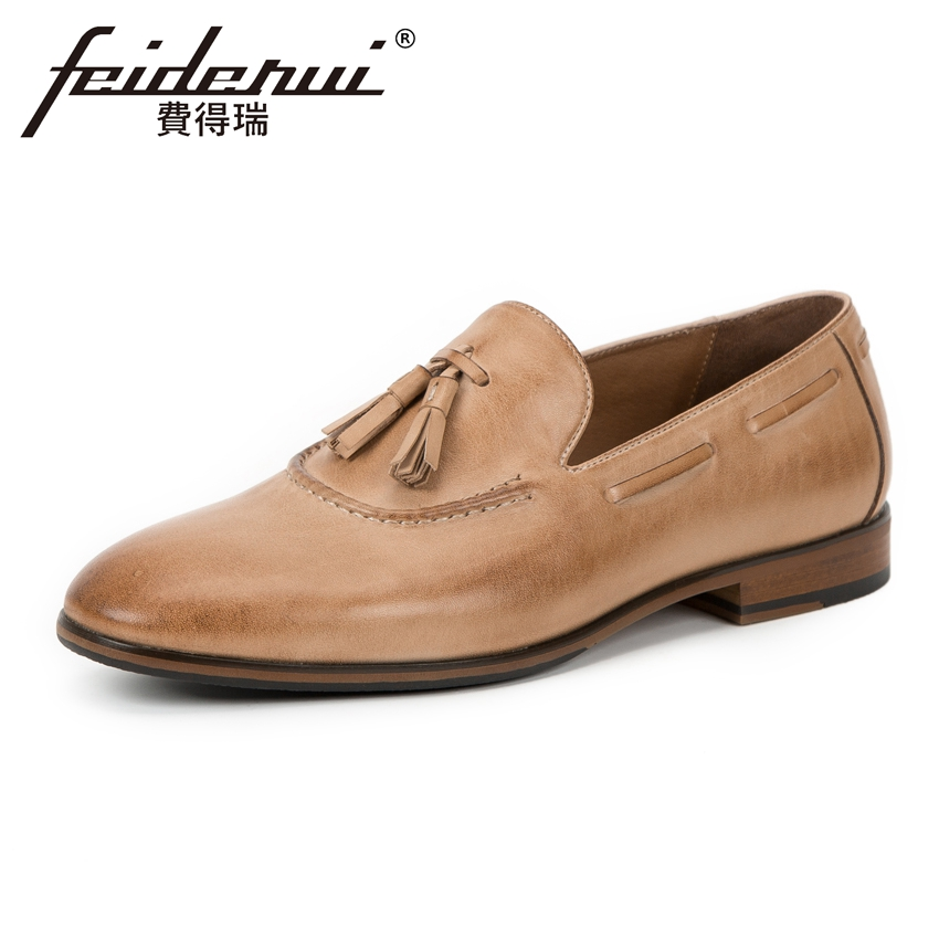 New Arrival Genuine Leather Mens Loafers British Style Round Toe Slip on Handmade Man Flats Comfortable Casual Shoes KUD129 new summer breathable men genuine leather casual shoes slip on fashion handmade shoes man soft comfortable flats lb b0009