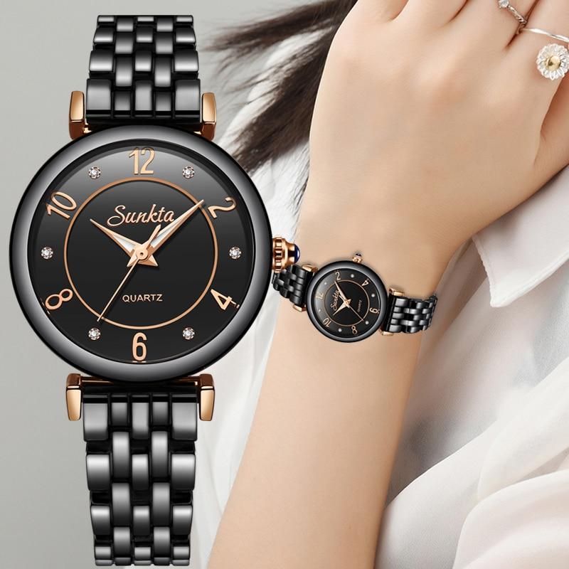 Zegarek Damski SUNKTA New Diamond Quartz Women Watches Waterproof Ladies Dress Bracelet Clock Top Brand Luxury Watch Women Box in Women 39 s Watches from Watches