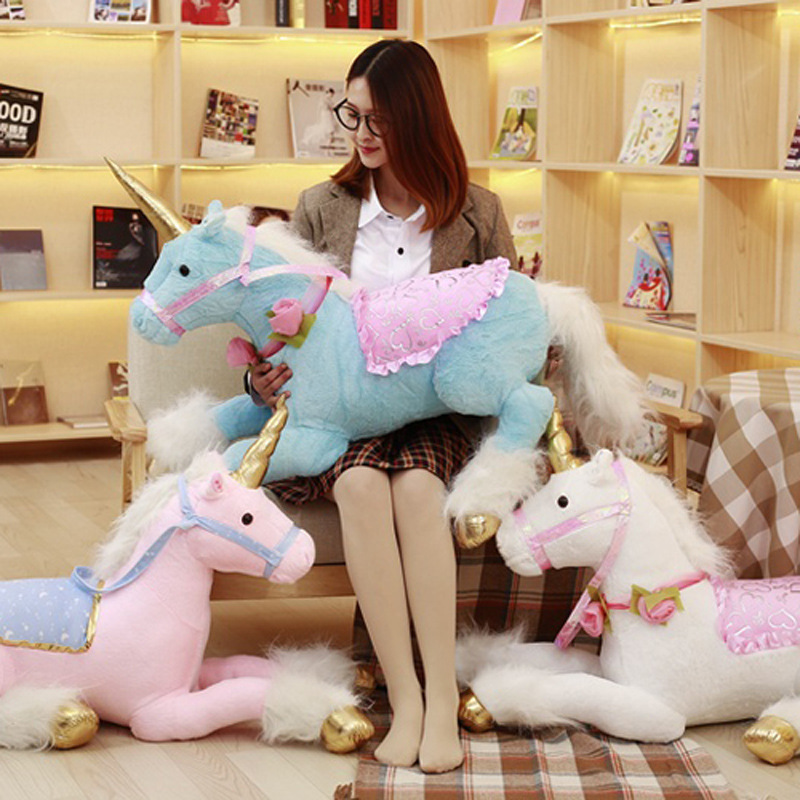 Hot 100cm Huge Unicorn Horse Plush Toys 3 Colors Stuffed Animal Soft Doll For Children Creative Room Decor Girls Birthday Gifts plush animals black footed ferret doll stuffed children s toys simulation animal dolls rare gifts