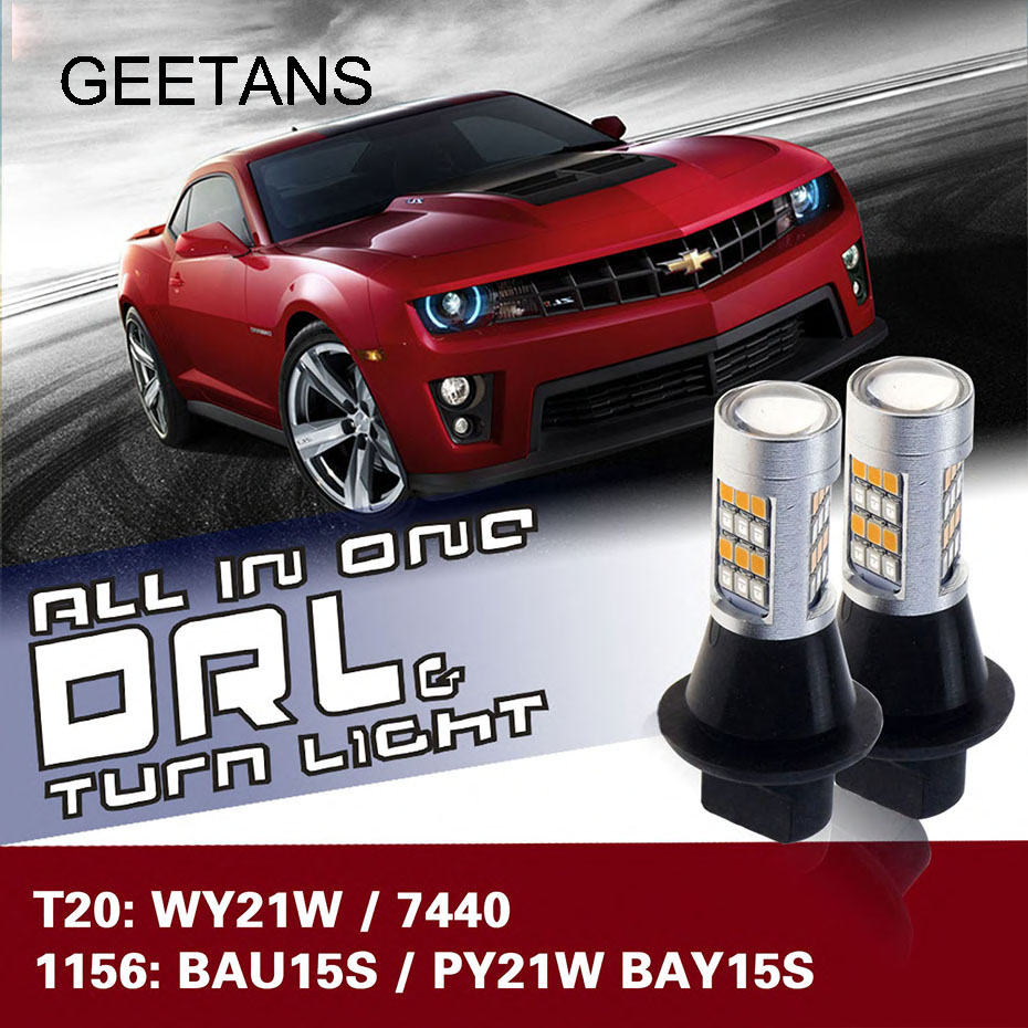 Car LED Daytime Running Light & Front Turn Signals Light Car DRL Winker White + Yellow  T20 7440 WY21W 1156 BAU15S BAY15S CB tcart 2x auto led light daytime running lights turn signals for toyota prius highlander for prado camry corolla t20 wy21w 7440