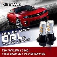 Luce dell'automobile LED Daytime Running Light e Indicatori di Direzione Anteriori Auto DRL Winker Bianco + Giallo T20 7440 WY21W 1156 BAU15S BAY15S CB