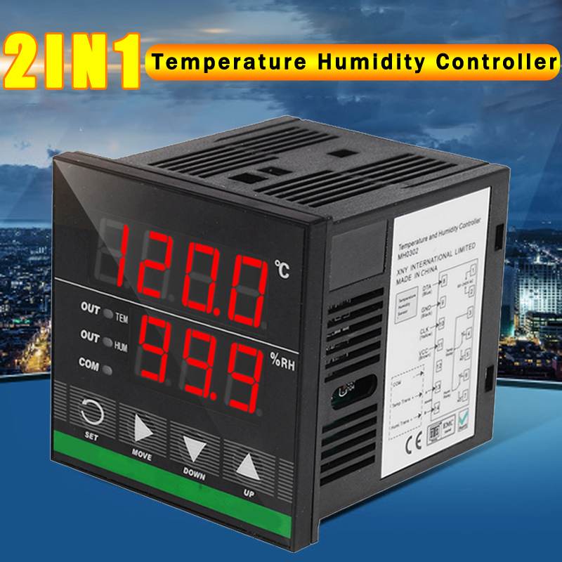 2 in 1 Digital Temperature Humidity Controller Relay Output with Humidity Sensor 72x72mm Egg Incubator Temperature Controller