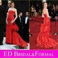 Anne Hathaway Vestido no Oscar 2011 Tapete Vermelho Sereia Strapless Tafetá Celebridade Vestido de Noite Formal