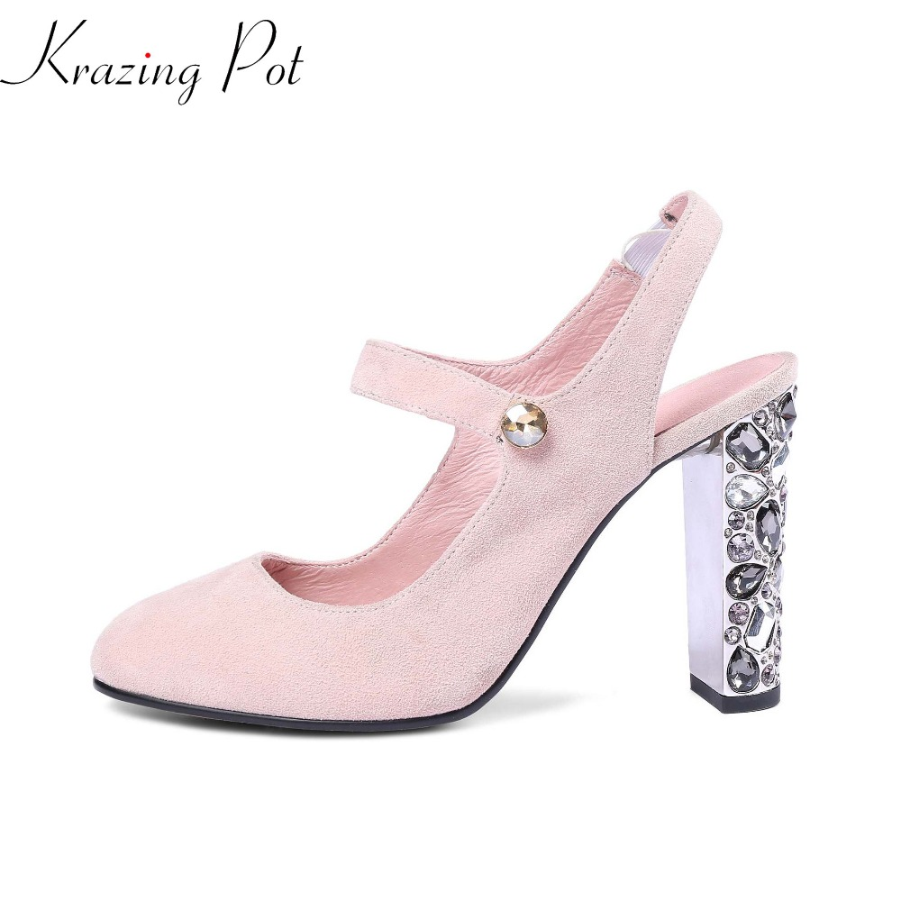Krazing Pot new shoes women fashion metal high heels sheep suede crystal diamond pumps round toe elegant wedding part shoes L78