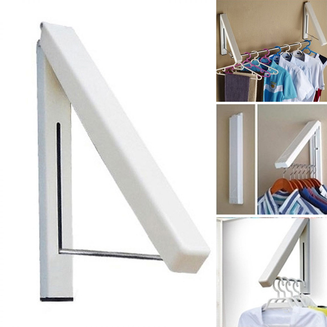 Folding Wall Hanger Mount Retractable Clothes Organizer Drying Towel Clothing Rack Waterproof Hangers Myding