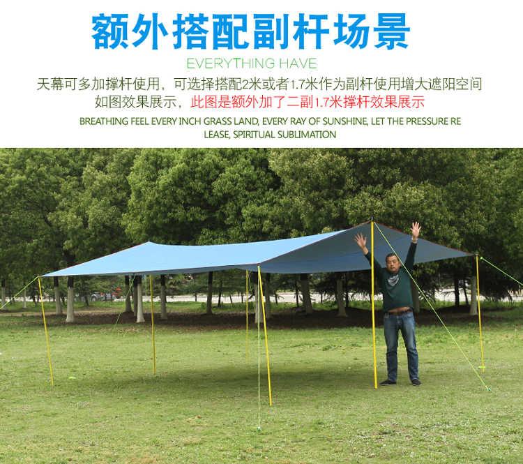Août tente extérieure camping plage super lumière ciel UV crème solaire et tente multi-usages auvent 3*3 m, 4*3 m, 5*3 m auvent avec corde